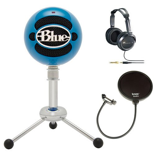 blue microphones snowball usb microphone electric blue with jvc full size studio headphones. Black Bedroom Furniture Sets. Home Design Ideas